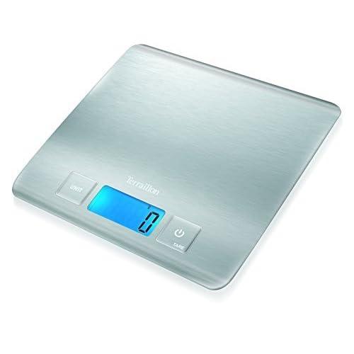 Terraillon Balance de Cuisine, Tare, Conversions Liquides, Ultra-Fine, Portée 5 kg, Carré Inox, Argent