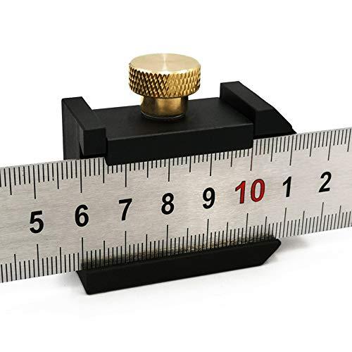 MOPOIN Streichmaß Anschlaglineal, 30cm Anreißlineal Edelstahl Anreisswerkzeug Streichmaß Metall mit Anschlag für Handwerker und Heimwerker