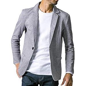liberte riche(リベルテ リッシュ) メンズ ジャケット テーラードジャケット スウェット ビジネス カジュアル 細身 ストレッチ 6color 5サイズ展開 グレー 2XL