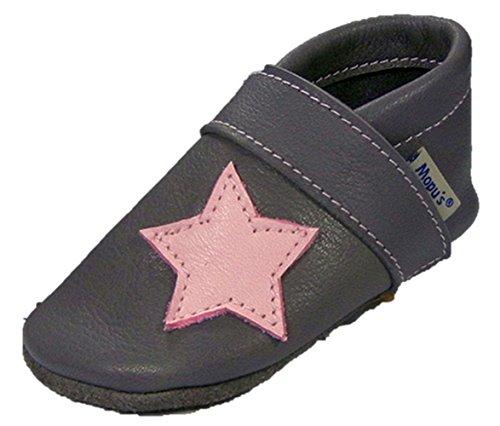 Mopu's® Krabbelschuhe - Lederpuschen grau mit rosa Stern- handgemachte Markenqualität aus Deutschland