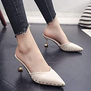 Female Outdoor Slipper Candy-colored slippers summer pointed rivets with high heels flip flops slippers Female sandals (Color : Light Green, Shoe Size : 36)