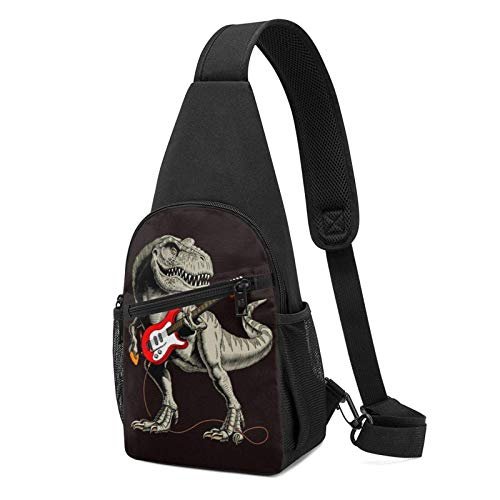 DJNGN Sling Rucksack Tyrannosaurus Dinosaurier Gitarre Sling Bag Umhängetasche Travel Hiking Chest Bag Daypack