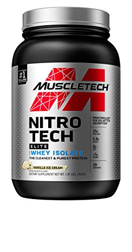 Whey Protein Isolate | MuscleTech Nitro-Tech Elite 100% Whey Isolate Protein Powder | Whey Protein Powder for Women & Men | Muscle Builder | Vanilla, 1.8 lbs (29 Servings)(packaging may vary)