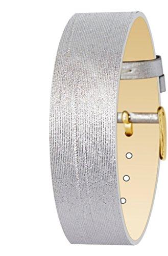 Moog Paris Bracciale da Donna in Tessuto di Colore Argento, Cinturino 18mm - PM-110G