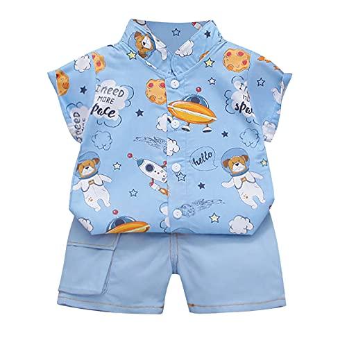 2021 Kleinkind Kinder Baby Jungen Cartoon Dinosaurier Gentleman Hemd Tops + Denim Shorts Outfit Gr. 68, Blau-1