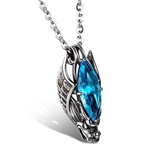 JewelryWe Schmuck Edelstahl Kette, Gotik Herrschsüchtigem Drachen Kopf Anhänger mit Blau Glas, Halskette Partnerkette für Damen und Herren