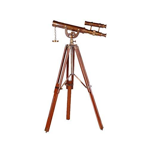 Telescopio Retro, Decoración Del Hogar Adornos, Madera Maciza Telescopio Antiguo De Cobre Puro De Soporte De Estilo...