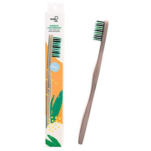 Spazzolino da denti in bambù, setole morbide dello spazzolino in carbone attivo, ecologico e biodegradabile, denti più sani ed ecosistema sano, di Moti