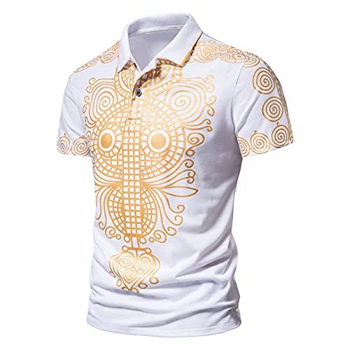 Polo Shirt Herren Freizeithemd Mode Golden Drucken T-Shirt Sommer Komfortabel Hemd Hawaiihemd Männer Tasten Shirt Bluse Kurzarm Oberteil Revers Poloshirts Tshirts Für Sport,Täglich,Freizeit und Büro