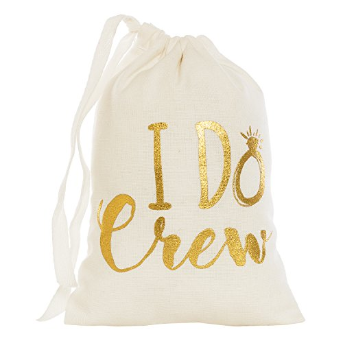 """Ling's moment 10Pcs 5"""" x 7"""" Cotton Muslin Wedding Party Favor Bags Drawstring Bags, Bridesmaid Gifts Bridal Party Gifts Gold I Do Crew - Bachelorette Party Hangover Kit Bags"""