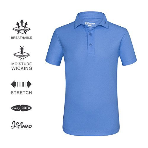 JITIMAO Boys Golf Dri Fit Polo Shirt Age 5-15, Breathable Performance Short Sleeves T-Shirt Slim Fit,Blue,X-Large / 13-15