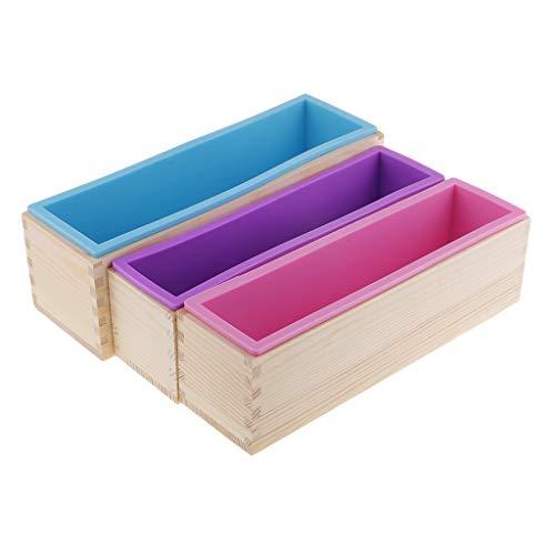 Kit de 3 moldes de madera con molde de silicona rectangulares