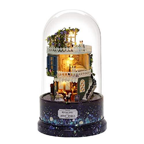 zhuolong Kit de casa de Bricolaje, casa de muñecas Creativa de Bricolaje Casa de ensueño en Miniatura con Caja de música giratoria, Cubierta Antipolvo, luz LED