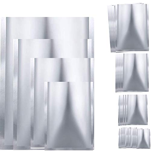 25 Pieces 4 Sizes Mylar Aluminum Foil Bags, Metallic Mylar Foil Flat Heat Sealable Bags Storage Bags Pouch for Food Coffee Tea Beans (4 x 6 Inch, 6 x 8 Inch, 8 x 10 Inch, 10 x 14 Inch)