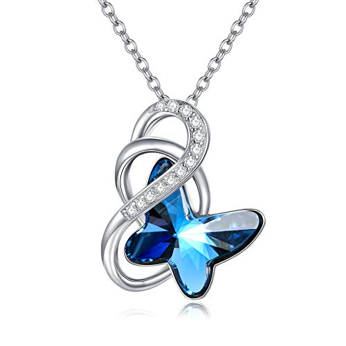 Sterling Silver Butterfly Infinity Pendant Necklace with Blue Crystals, Butterfly Jewellery Anniversary Birthday Gifts for Women Girls Her Daughter Wife