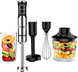 AEVOBAS Hand Blender 1000W, Immersion Blender, Stepless Speed, 5 in 1 Food Processor