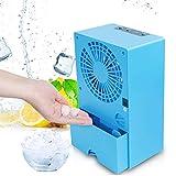 Ventilador eléctrico sin Hojas humidificador por pulverización, Ventiladores pequeños de Aire Acondicionado de Escritorio multifuncionales con refrigeración Ahorro de energía