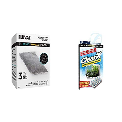 Fluval Filtereinsätze Kohle Produktreihe Spec & A1336 Clear X Filter Kissen 4er Pack