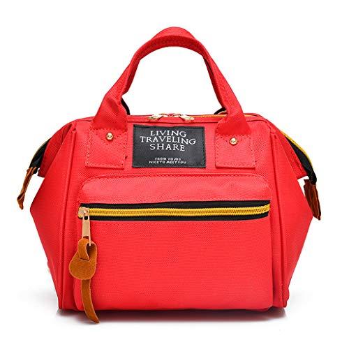 Fashion - Zaino da donna mimetico Cabrio con chiusura lampo, borsa a tracolla, monocolore, per attività all'aperto, multifunzione, LEEDY, Rosso (Rot), Taglia unica