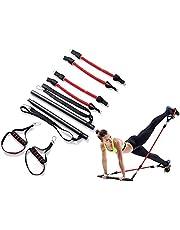 Delmkin Pilates Bar Kit, met 4 elastische weerstandsbanden, draagbare pilatesset voor rekken, training, fitnessapparaat, borst-expander, yoga