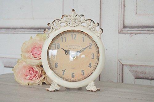 windschief-living Uhr Svea im Antique Shabby Chic Landhaus, Weiße Tischuhr Wecker