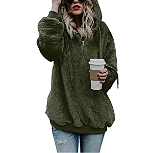 Women's Sherpa Pullover Fuzzy Fleece Sweatshirt Oversized Hoodies