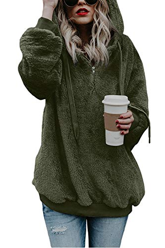 COCOLEGGINGS Ladys Sherpa Hoodie Fuzzy Fleece Pullover Coat Army Green 2XL