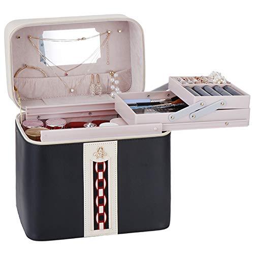 KKJKK Impermeable Bolsa de Maquillaje Caso Cosmético Viaje Caja de la Belleza Instrumento de Peluquero Organizador Caja de Almacenaje Profesional Maquillaje Caja del Tren de Bolso de Cosméticos,Negro