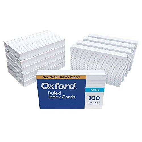 "Oxford 41 (1000 PK) Ruled Index Cards, 4"" x 6"", White, 1,000 Cards (10 Packs of 100) (41)"