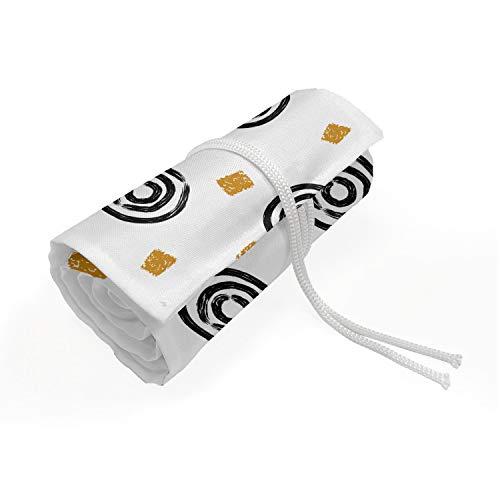 ABAKUHAUS Abstrakt Mäppchen Rollenhalter, Bullseye Circle Design, langlebig und tragbar Segeltuch Stiftablage Organizer, 36 Schlaufen, Pale Kaffee Schwarz