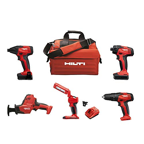 Hilti 12-Volt Cordless 5-Tool Combo with Recip Saw Hammer Drill Driver Impact Driver 4.0 Li-Ion Battery Pack and More
