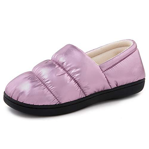 RockDove Women's Closed Back Down Camper Memory Foam Slipper with Indoor Outdoor Rubber Sole, Size 9-10 US Women, Metallic Pink