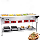KITMA Commercial 240 V Electric Food Warmer 5 Pot Stainless Steel Steam Table, Buffet Server for Catering and Restaurant