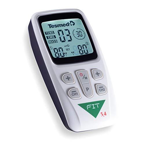 TESMED Fit 5.4 : elettrostimolatore Muscolare, Glutei, Addominali, Massaggi, tens - 22 programmi Altamente specifici, 2 canali, 4 elettrodi