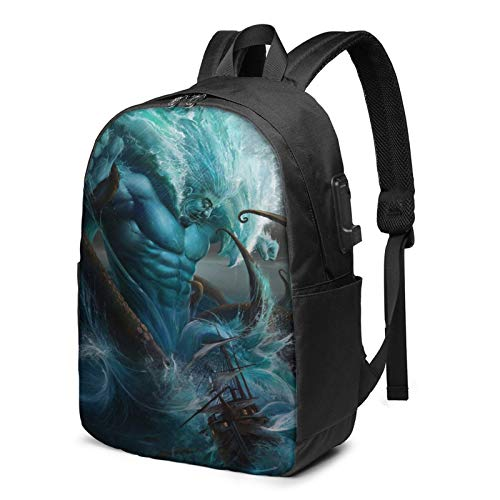 Poseidon War Sea God Travel Laptop Backpack with USB Charging Port 17 Inch Casual Daypack