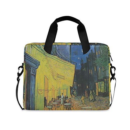 Funda para portátil de 15.6 a 14 y 15 pulgadas, diseño de Van Gogh Street Starry Sky, funda portátil con correa de hombro ajustable y asa