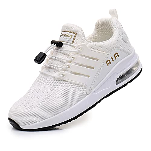Hombres y Mujeres Zapatos para Correr Entrenador Zapatos Deportivos Transpirables Caminar Ligero Antideslizante cojín de Aire absorción de Impactos Moda Ocio Gimnasio Correr al Aire Libre White 36