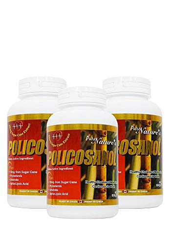 PNC Three Bottles of Policosanol Cuban Active Ingredient Healthy Cholesterol Metabolism and Support Cardiovascular Health Alpha-Lipoic Acid - 20mg from Sugar Cane - 120 Caps - Health Supplement -