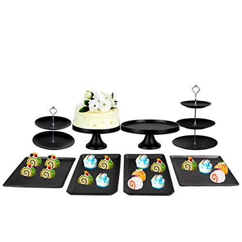 RSHJD Dessert Platte, Hochzeit Gebäck Serviertablett für die Hochzeit Party Bankett, Dekoration Dessert Kuchen ObstSilver-8 Piece Set