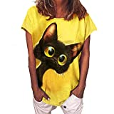 Womens T Shirt Cat Graphic Animal Print Casual Loose Round Neck Short Sleeve T-shirt Yellow L