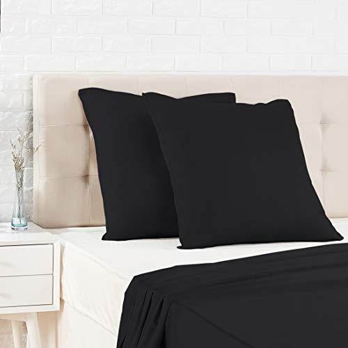 Amazon Basics Taie d'oreiller en satin - 65 x 65 cm x 2, Noir