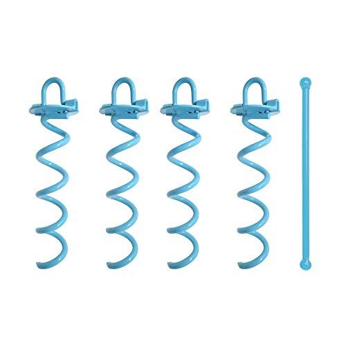 Spiral Ground Anchor, 10 Inch, 4 Pack, with Folding Ring for Securing Tents, Canopies, Tarps, Trampoline, Swing Sets, Powder-Coated Solid Steel Earth Auger