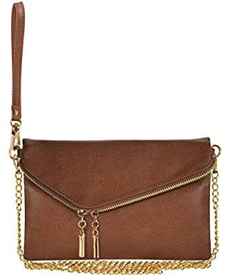 Evening Envelope Fold Over And Wristlet Clutch Crossbody Bag with Chain Strap …