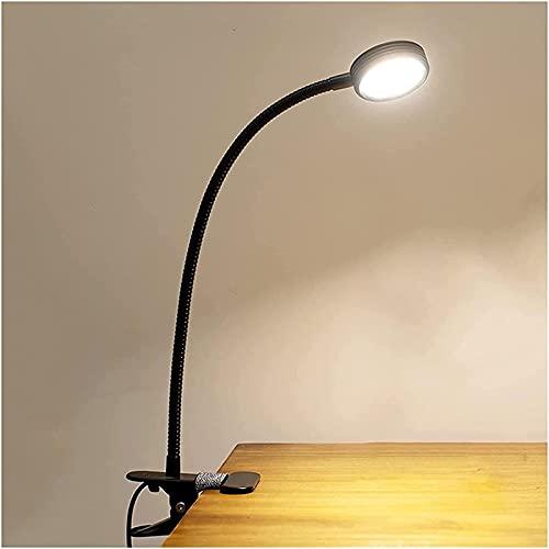 HZNZYJ Lámparas de Mesa Lámpara de Escritorio LED con Abrazadera STEPLESS DIMMING 3 Modos DE Color Conecte en 5W Clip en la luz con la Interfaz USB Dimmable Flexible