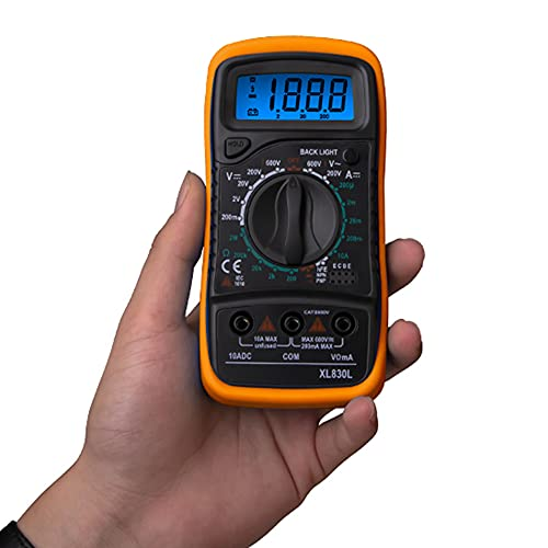 Multímetro Digital,Multímetro Digital de Mano Retroiluminación LCD Portátil,Probador Múltiple Voltímetro Amperímetro Ohmímetro, Probador de Voltaje