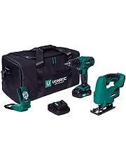 VONROC Gereedschapsset / machineset VPower 20V – gereedschapstas incl.: accuboor, decoupeerzaag, werklamp 1x 2.0Ah accu en snellader
