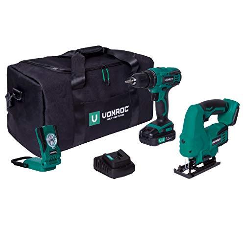 VONROC VPower - Juego de herramientas y maquinaria de 20 V – Bolsa de herramientas incluye: taladro inalámbrico, sierra de calar, luz de trabajo, 1 batería de 2,0 Ah y cargador rápido
