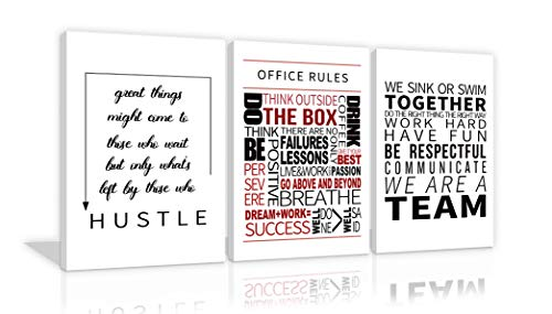 Inspirational Office Wall Art 3 Pieces Office Rules Framed Prints Teamwork Quote Positive Poster Motivational Wall Decor Hustle Wall Decor for Office Decor Framed Ready to Hang