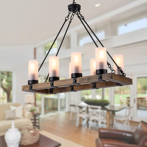 XIPUDA Dining Room Light Fixture, 8-Light Farmhouse Chandelier, Kitchen Island Lighting, Rustic Chandeliers Over Table, Pendant Light with Glass Lampshade, Lodge Ceiling Island Light