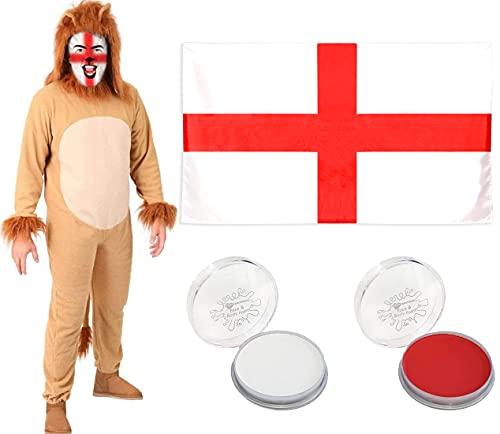 Disfraz de len de lujo de 2 piezas para adultos con cola, capucha separada para disfraz de fantasa, pintura de rostro roja y blanca y bandera de San George